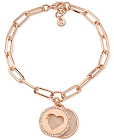 Mother-of-Pearl & Crystal Heart & Silver Plated Disc Charm Bracelet in Rose Gold-Tone Brass