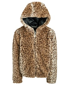 Big Girls Faux-Fur Animal-Print Hooded Jacket