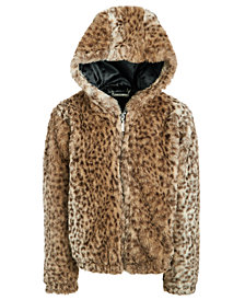 Jou Jou Big Girls Faux-Fur Animal-Print Hooded Jacket