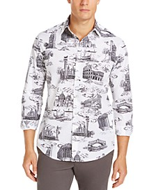 Men's Stretch Print Woven Shirt, Created For Macy's