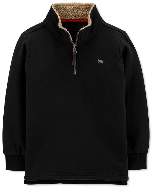 Carter's Little & Big Boys 1/2-Zip Pullover Sweatshirt With Faux-Shearling Trim