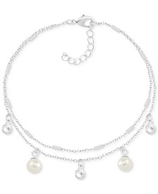 Imitation Pearl & Crystal Two-Row Anklet