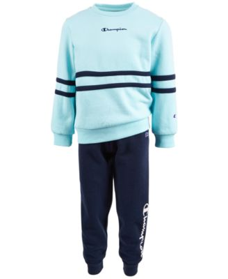 Little Girls 2-Pc. Crewneck Top & Fleece Jogger Pants Set