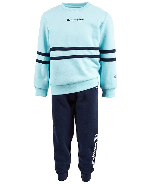 Champion Little Girls 2-Pc. Crewneck Top & Fleece Jogger Pants Set