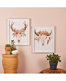 Free Spirit Animal Skull and Flowers Wall Art  - Set of 2