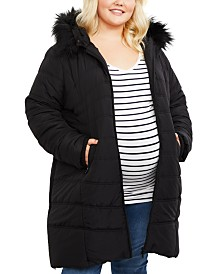 Motherhood Maternity Plus Sie Zip-Front Coat