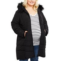 Motherhood Maternity Plus Size Zip-Front Coat (Black)