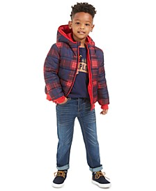 Little Boys Plaid Reversible Water-Resistant Hooded Puffer Jacket, Made To Explore T-Shirt & Slim-Fit Stretch Jeans, Created For Macy's