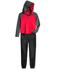 Big Boys Grand Colorblocked Thermal-Knit Hooded Henley & Stretch Denim Joggers, Created For Macy's