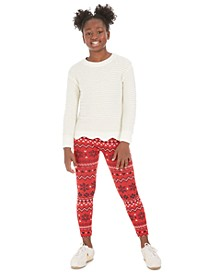 Big Girls Scalloped Sweater & Fair Isle Leggings, Created For Macy's