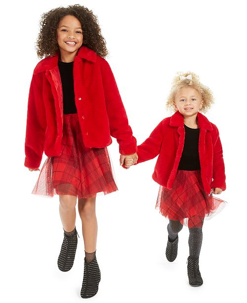 Epic Threads Toddler, Little & Big Girls Faux-Fur Jacket & Velvet & Plaid Dress, Created For Macy's