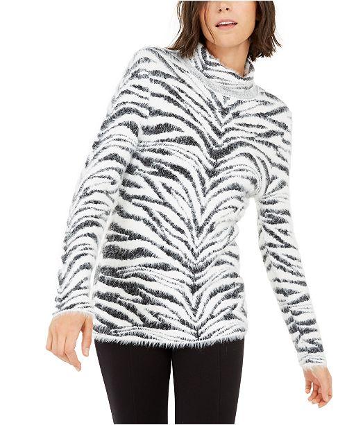 INC International Concepts INC Animal-Print Eyelash Sweater, Created For Macy's