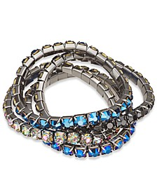 INC Hematite-Tone 4-Pc. Set Crystal Stretch Bracelets, Created For Macy's