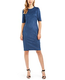 Faux-Suede Sheath Dress