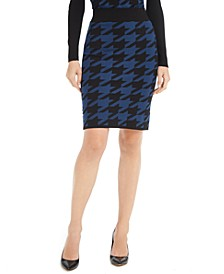 Houndstooth-Print Pencil Skirt