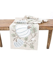 Harvest Pumpkins and Vines Crewel Embroidered Fall Table Runner