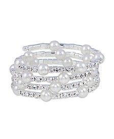 Station Imitation Pearl with Crystals Coil Wrap Bracelet