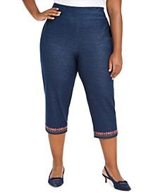 Plus Size Road Trip Embroidered Knit-Denim Capri Pants