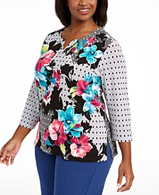 Plus Size Bright Idea Embellished Printed Top