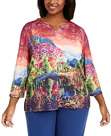 Plus Size Autumn Harvest Scenic Printed Top