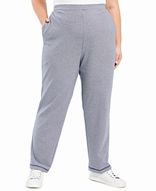 Plus Size Road Trip Textured-Knit Pull-On Pants