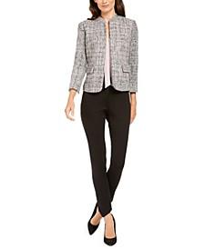 Tweed Jacket, Tie-Neck Blouse, & Bi-Stretch Slim Pants