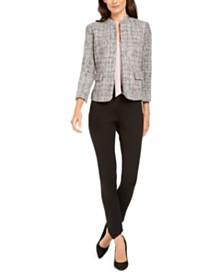 Anne Klein Tweed Jacket, Tie-Neck Blouse, & Bi-Stretch Slim Pants