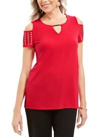 JM Collection Embellished Cold-Shoulder Top, Created for Macy's