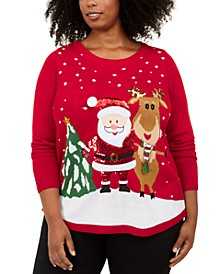 Plus Size Sequined Santa Sweater, Created For Macy's