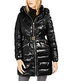 Hooded Down Puffer Coat With Faux-Fur Trim