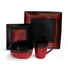 Livingston Red 16 Pc Dinnerware Set