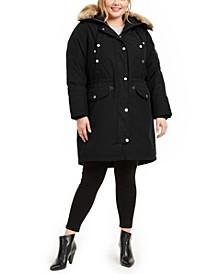 Plus Size Hooded Faux-Fur-Trim Parka Coat