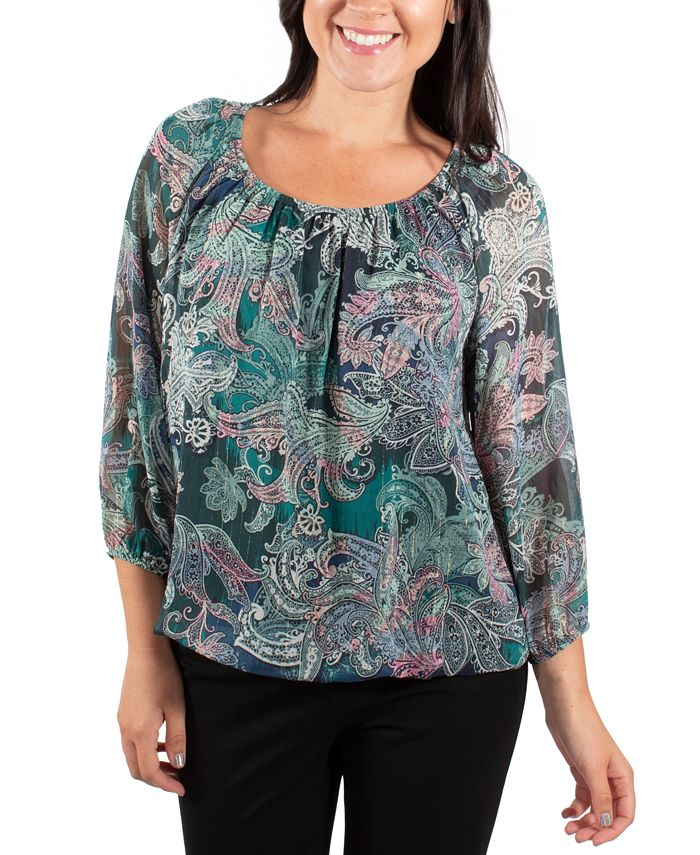 NY Collection - Printed Peasant Top