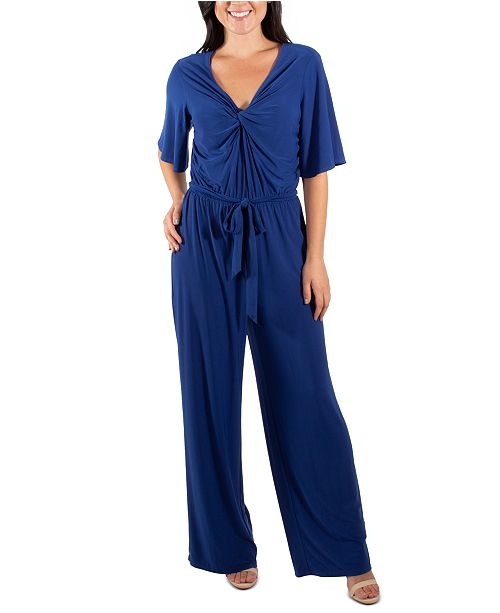 NY Collection Flutter-Sleeve Jumpsuit
