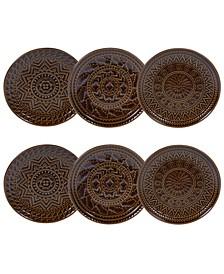 Aztec Brown 6-Pc. Canape Plates