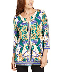 Hardware-Trim Keyhole-Neck Tunic, Created For Macy's