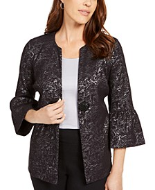 Metallic Jacquard Bell-Sleeve Jacket, Created For Macy's