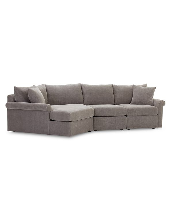 Furniture Wedport 3-Pc. Fabric Modular Sectional Sofa with Cuddler, Created for Macy's
