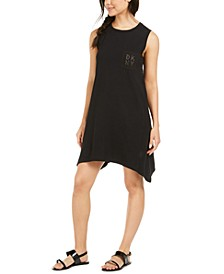 Mesh-Back Logo Pocket Swim Cover-Up Dress