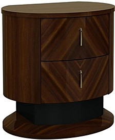 Two Drawers Wooden Nightstand with Teardrop Metal Handles