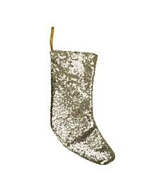 "17.5"" Shiny Gold Sequins Christmas Stocking"