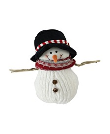 "9"" Fuzzy Smiling Christmas Snowman Figurine with Black Hat and Striped Scarf"