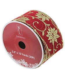 """Cranberry Red and Gold Poinsettia Burlap Wired Christmas Craft Ribbon 2.5"""" x 10 Yards"""