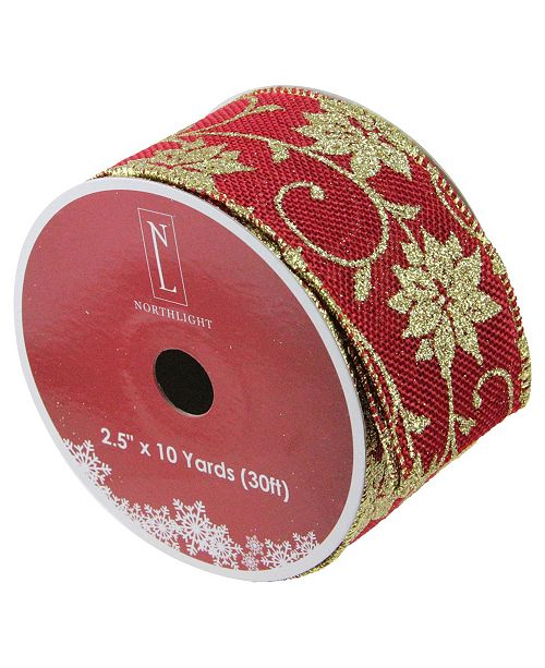 """Northlight Cranberry Red and Gold Poinsettia Burlap Wired Christmas Craft Ribbon 2.5"""" x 10 Yards"""
