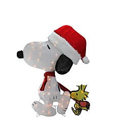 "32"" Pre-Lit Peanuts Snoopy and Woodstock 2D Christmas Outdoor Decoration"