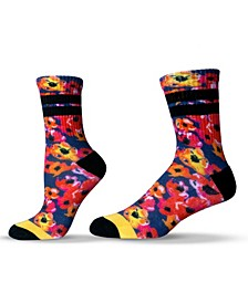 Unisex Floral Peony Pattern Crew Socks