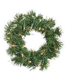 Pre-Lit Deluxe Windsor Pine Artificial Christmas Wreath - 10 inch Clear Lights
