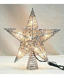 "12"" Lighted Glittering Silver-Tone Star Christmas Tree Topper - Clear Lights"