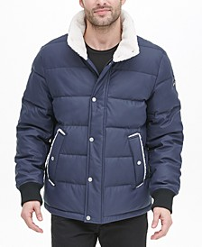 Men's Sherpa Trimmed Military Bomber Puffer Jacket, Created For Macy's