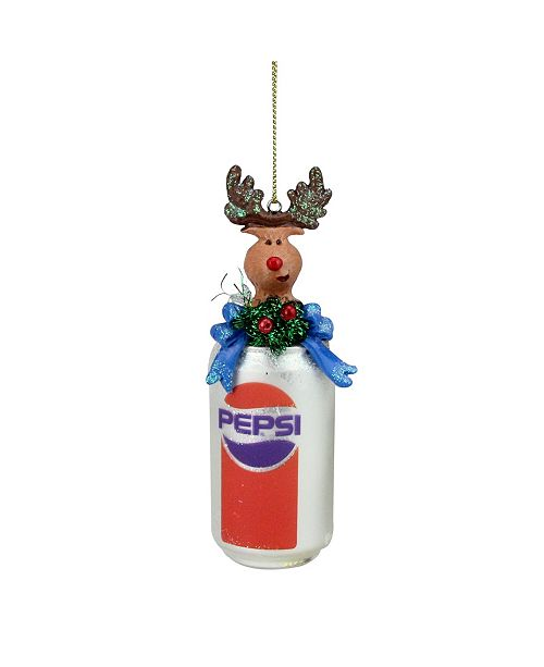 Northlight Glittered Classic Pepsi Can with Reindeer Topper Christmas ornament